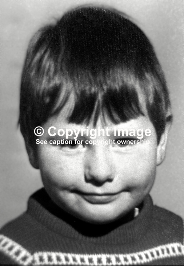 Paul Cromie, 4 years, Finaghy Road North, Belfast, N Ireland, who was fatally shot by the Provisional IRA whilst playing in the garden of his home. The IRA were firing at a passing British Army patrol. 197305280328e.<br /> <br /> Copyright Image from Victor Patterson, 54 Dorchester Park, Belfast, UK, BT9 6RJ<br /> <br /> t1: +44 28 9066 1296 (from Rep of Ireland 048 9066 1296)<br /> t2: +44 28 9002 2446 (from Rep of Ireland 048 9002 2446)<br /> m: +44 7802 353836<br /> <br /> e1: victorpatterson@me.com<br /> e2: victorpatterson@gmail.com<br /> <br /> The use of my copyright images is subject to my Terms &amp; Conditions.<br /> <br /> It is IMPORTANT that you familiarise yourself with them. They are available on my website at www.victorpatterson.com.<br /> <br /> None of my copyright images may be used on a website unless they are visibly watermarked, i.e. &copy; Victor Patterson within the body of the visible image. Metadata denoting my copyright must NOT be deleted. <br /> <br /> Web use (maximum size - 400 kb) is extra at currently recommended NUJ rates.