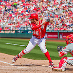 24 May 2015: Washington Nationals outfielder Bryce Harper at bat against the Philadelphia Phillies at Nationals Park in Washington, DC. The Nationals defeated the Phillies 4-1 to take the rubber game of their 3-game weekend series. Mandatory Credit: Ed Wolfstein Photo *** RAW (NEF) Image File Available ***