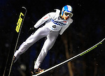 Yuta Watase of Japan  soars through the air during the FIS World Cup Ski Jumping in Sapporo, northern Japan in February, 2008.