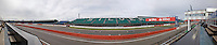 The home straight at Silverstone Circuit; seen on a non-race day from the viewing terrace of the VIP lounges.