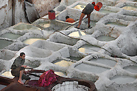 High angle view of the pits used for the first treatment of the raw skins, Chouara Tannery, Fez, Morocco, pictured on February 23, 2009 in the evening. These white pits are filled with ammonia water made from pigeon droppings. The Chouara tannery is the largest of the four ancient tanneries in the Medina of Fez where the traditional work of the tanners has remained unchanged since the 14th century. It is composed of numerous dried-earth pits where raw skins are treated, pounded, scraped and dyed. Tanners work in vats filled with various coloured liquid dyes derived from plant sources. Colours change every two weeks, poppy flower for red, mint for green, indigo for blue, chedar tree for brown and saffron for yellow. Fez, Morocco's second largest city, and one of the four imperial cities, was founded in 789 by Idris I on the banks of the River Fez. The oldest university in the world is here and the city is still the Moroccan cultural and spiritual centre. Fez has three sectors: the oldest part, the walled city of Fes-el-Bali, houses Morocco's largest medina and is a UNESCO World Heritage Site;  Fes-el-Jedid was founded in 1244 as a new capital by the Merenid dynasty, and contains the Mellah, or Jewish quarter; Ville Nouvelle was built by the French who took over most of Morocco in 1912 and transferred the capital to Rabat. Picture by Manuel Cohen.