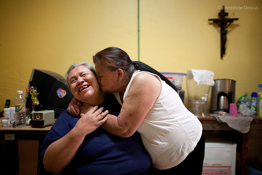 Normota and Canela, both residents of Casa Xochiquetzal, at the shelter in Mexico City, Mexico on may 28, 2012. Casa Xochiquetzal is a shelter for elderly sex workers in Mexico City. It gives the women refuge, food, health services, a space to learn about their human rights and courses to help them rediscover their self-confidence and deal with traumatic aspects of their lives. Casa Xochiquetzal provides a space to age with dignity for a group of vulnerable women who are often invisible to society at large. It is the only such shelter existing in Latin America. Photo by Bénédicte Desrus