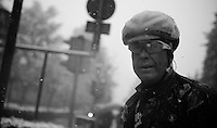 Milan - San Remo 2013: the iced edition.<br /> Lars Bak (DNK) just made it to the neutralised zone. Completely undercooled.