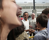 Kailua, HI - December 30, 2008 -- United States President-Elect Barack Obama greets well-wishers after a morning game of basketball with friends at Punahou School on  after Tuesday  December 30, 2008 in Honolulu, Hawaii. Obama and his family arrived in his native Hawaii December 20 with his family for the Christmas holiday..Credit: Kent Nishimura - Pool via CNP