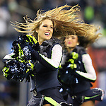 Seattle Seahawks dance team, the Seagulls, perform during a time out in their game against the Carolina Panthers at CenturyLink Field in Seattle, Washington on December 4, 2016.  Seahawks beat the Panthers 40-7.  ©2016. Jim Bryant photo. All Rights Reserved.