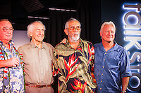 """HONOLULU, Turtle Bay Resort, North Shore, Oahu. - (Thursday, January 3, 2013) Peter Cole (USA), Kimo Hollinger (HAW) and Randy Rarick (HAW).  Greg Noll (USA) was the guest  speaker of Talk Story at Surfer The Bar tonight. Noll, nicknamed """"Da Bull"""" by Phil Edwards in reference to his physique and way of """"charging"""" down the face of a wave is an American pioneer of big wave surfing and is also acknowledged as a prominent longboard shaper. Noll was a member of a US lifeguard team that introduced Malibu boards to Australia around the time of the Melbourne Olympic Games. Noll became known for his exploits in large Hawaiian surf on the North Shore of Oahu. He first gained a reputation in November 1957 after surfing Waimea Bay in 25-30 ft surf when it had previously been thought impossible even to the local Hawaiians. He is perhaps best known for being the first surfer to ride a wave breaking on the outside reef at the so-called Banzai Pipeline in November 1964...It was later at Makaha, in December 1969, that he rode what many at the time believed to be the largest wave ever surfed. After that wave and the ensuing wipeout during the course of that spectacular ride down the face of a massive dark wall of water, his surfing tapered off and he closed his Hermosa Beach shop in the early 1970s. He and other surfers such as Pat Curren, Mike Stang, Buzzy Trent, George Downing, Mickey Munoz, Wally Froyseth, Fred Van Dyke and Peter Cole are viewed as the most daring surfers of their generation...Noll is readily identified in film footage while surfing by his now iconic black and white horizontally striped """"jailhouse"""" boardshorts and was interviewed by host Jodi Wilmott (AUS). . Photo: joliphotos.com"""