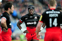 Maro Itoje of Saracens looks on during a break in play. Aviva Premiership semi final, between Saracens and Leicester Tigers on May 21, 2016 at Allianz Park in London, England. Photo by: Patrick Khachfe / JMP