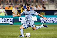 Matt Besler (5) of Sporting Kansas City. Sporting Kansas City defeated the Philadelphia Union 2-0 during the semifinals of the 2012 Lamar Hunt US Open Cup at PPL Park in Chester, PA, on July 11, 2012.