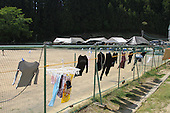May 18, 2011; Minamisanriku, Miyagi Pref., Japan - Laundry hangs out to dry at the Shizukawa High School Evacuation Center in Minamisanriku after the magnitude 9.0 Great East Japan Earthquake and Tsunami that devastated the Tohoku region of Japan on March 11, 2011.