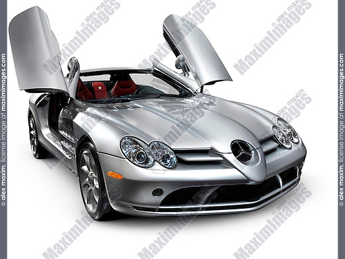 Mercedes Benz SLR McLaren Roadster Anglo-German sports car Isolated silhouette with clipping path on white background