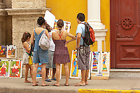 Paintings seller, Cartagena de Indias, Bolivar Department, Colombia, South America.