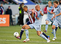 CARSON, CA - April 1, 2012: Ryan Smith (22) of Chivas and Aurelien Collin (78) of KC during the Chivas USA vs Sporting KC match at the Home Depot Center in Carson, California. Final score Sporting KC 1, Chivas USA 0.