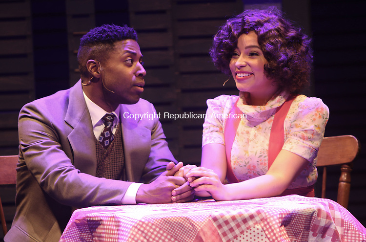 WATERBURY CT. 09 May 2017-050917SV17-Jacobi Hall playing Nelson and Cherry Torres playing Ella during rehearsal of Trav&rsquo;lin-The 1930s Harlem Musical at Seven Angels Theater in Waterbury Tuesday. <br /> Steven Valenti Republican-American
