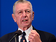 Washington, DC - May 13, 2017: Former U.S. Attorney John Ashcroft speaks at the candlelight vigil memorial service during Police Week, May 13, 2017.  (Photo by Don Baxter/Media Images International)