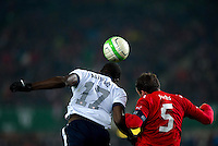 VIENNA, Austria - November 19, 2013: Jozy Altidore and Austria's Christian Fuchs during a 0-1 loss to host Austria during the international friendly match between Austria and the USA at Ernst-Happel-Stadium.
