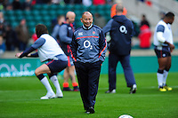 England Rugby Head Coach Eddie Jones looks on during the pre-match warm-up. Old Mutual Wealth Series International match between England and Fiji on November 19, 2016 at Twickenham Stadium in London, England. Photo by: Patrick Khachfe / Onside Images