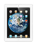 White Apple iPad 2 tablet computer with Earth globe desktop on its display. Isolated with clipping path on white background.