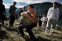 During annual Pagan festivals in Svaneti, Svans try to see who can pick up the biggest rock.....Only 400 families are left in the mountain valleys. Most people were relocated in 1951 by the Communist party.  The party line was that they had such a rough life in the mountains and they needed a more happy life. If they didnÕt want a Òmore happy life,Ó the Communist just shot them...