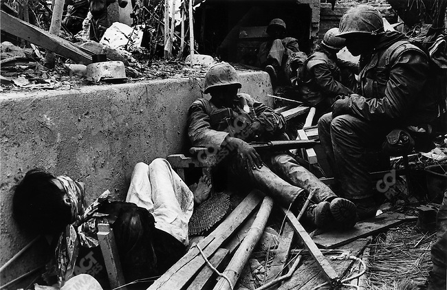 U.S. Marines with a Vietnamese prisoner, Têt offensive, Battle of Hué, Vietnam, February 1968
