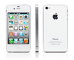 White iPhone 4s Apple smartphone shown fron three sides, front, back and side view. Isolated on white background with clipping path.