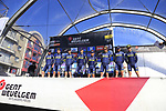 Orica-Scott team on stage at sign on before the start of Gent-Wevelgem in Flanders Fields 2017, running 249km from Denieze to Wevelgem, Flanders, Belgium. 26th March 2017.<br /> Picture: Eoin Clarke | Cyclefile<br /> <br /> <br /> All photos usage must carry mandatory copyright credit (&copy; Cyclefile | Eoin Clarke)