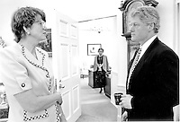 United States President Bill Clinton confers with Attorney General Janet Reno in the Oval Office of the White House in Washington, D.C. on Thursday, April 15, 1993.  Reno, a former Dade County, Florida, prosecutor, has been widely praised for her tough approach to fighting crime.<br /> Credit: White House via CNP /MediaPunch