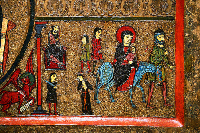 Romanesque Altar Front of Cardet<br /> <br /> Thirteenth century paint and metal relief on wood from a church of Santa Maria of Cardet, Vall de Boi, Alta Ribagorca, Spain<br /> <br /> Acquired by the National Art Museum of Catalonia, Barcelona 1932. Ref: MNAC 3903.<br /> <br /> <br /> This Romanesque painted altar front is dedicated to the Nativity. Bottom left shows The Flight to Egypt.