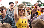 Electric Fields music festival at Drumlanrig Castle, Dumfries and Gallloway Scotland. young Colonel Mustard fan in the crowd