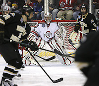 Ohio State goalie Brady Hjelle (34) keeps focused against Western Michigan during a NCAA hockey game at Value City Arena, Friday, Feb. 15, 2013 in Columbus, Ohio. (Photo for the Dispatch by Mike Munden)