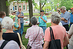 Ohio Department of Natural Resource  Regional Urban Forester Ann Bonner leads a walking tour discussion about trees on the College Green. Photo by Ben Siegel