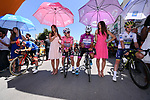 The leaders jerseys line up for the start of Stage 8 of the 100th edition of the Giro d'Italia 2017, running 189km from Molfetta to Peschici, Italy. 1th May 2017.<br /> Picture: LaPresse/Gian Mattia D'Alberto | Cyclefile<br /> <br /> <br /> All photos usage must carry mandatory copyright credit (&copy; Cyclefile | LaPresse/Gian Mattia D'Alberto)