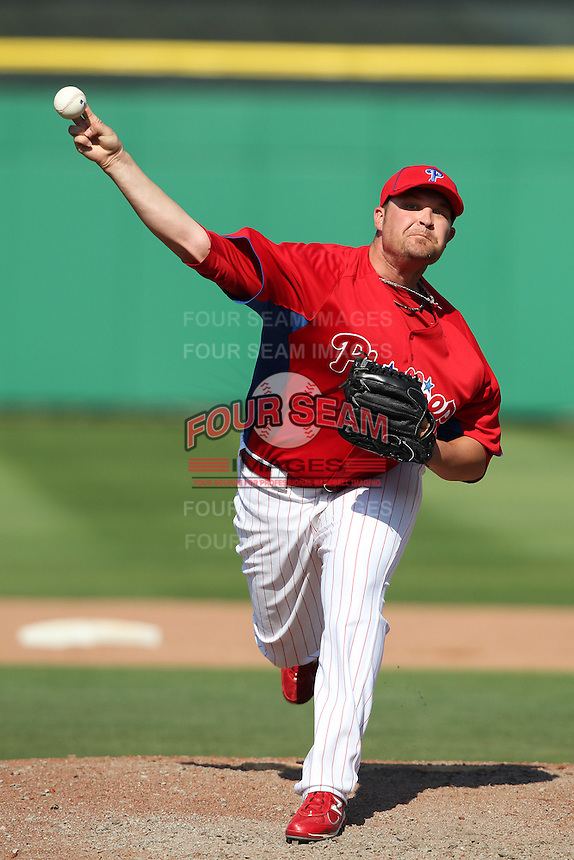 Philadelphia Phillies Drew Carpenter #48 during a spring training game against the Baltimore Orioles at Bright House Field in Clearwater, Florida;  March 8, 2011.  Photo By Mike Janes/Four Seam Images