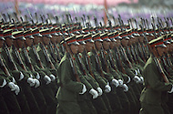 Beijing, China. October 1st, 1984. This huge parade is for the celebration of the 35th Anniversary of the Chinesse Revolution. Few ten of thousand of various millitary troops walk for hours in front of the crowd.