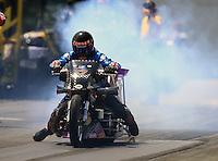 Jun 6, 2016; Epping , NH, USA; NHRA top fuel Harley motorcycle rider Jay Turner during the New England Nationals at New England Dragway. Mandatory Credit: Mark J. Rebilas-USA TODAY Sports