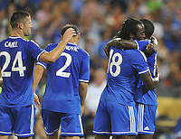 Romeo Lukaku (18) of Chelsea FC celebrates his score with teammates.  Chelsea FC defeated AS Roma 2-1, during an international friendly , at RFK Stadium, Saturday August 10 , 2013.