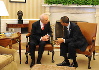 United States President Barack Obama meets with President Shimon Peres of Israel in the Oval Office of the White House in Washington on Tuesday, April 5, 2011.   .Credit: Roger L. Wollenberg / Pool via CNP /MediaPunch