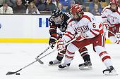 Colton Saucerman (NU - 23), Alexx Privitera (BU - 6) - The Northeastern University Huskies defeated the Boston University Terriers 3-2 in the opening round of the 2013 Beanpot tournament on Monday, February 4, 2013, at TD Garden in Boston, Massachusetts.