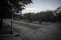 In this Sunday, Jun. 16, 2013 photo, Gezi park is seen at the dawn after anti-riot police attacked and evicted the night before the protesters camping in during the ongoing turmoil in Istanbul, Turkey. (Photo/Narciso Contreras).