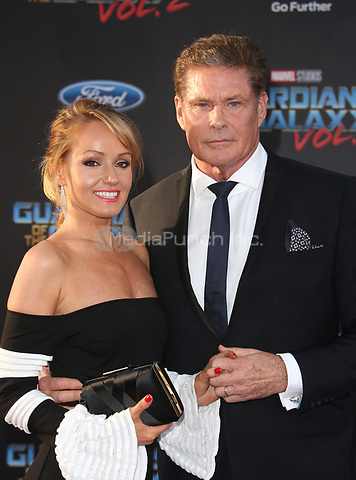"HOLLYWOOD, CA - April 19: David Hasselhoff, Hayley Roberts, At Premiere Of Disney And Marvel's ""Guardians Of The Galaxy Vol. 2"" At The Dolby Theatre  In California on April 19, 2017. Credit: FS/MediaPunch"