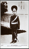 BNPS.co.uk (01202 558833)<br /> Pic: HAldridge/BNPS<br /> <br /> The Tsarevich as col. of the Nijni Novgorod Dragoons.<br /> <br /> Poignant photographs of the last Russian royal family visiting their British relatives - the King and Queen of Britain - have come to light.<br /> <br /> The black and white images show Tsar Nicholas II, his wife Alexander and their children at Osborne House on the Isle of Wight in 1909 with Edward VII and his wife, Mary of Teck.<br /> <br /> The images show just how close the two Royal families were. <br /> <br /> The album of up to 100 photo postcards is being sold for &pound;1,500 by Henry Aldridge and Son.
