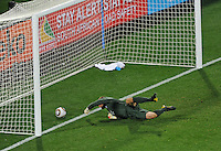 Robert Green of England fumbles Clint Dempsey of the USA's shot and the ball rolls into the net. USA vs England in the 2010 FIFA World Cup at Royal Bafokeng Stadium in Rustenburg, South Africa on June 12, 2010.