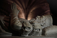 Effigy of Vasco da Gama, Portuguese explorer, died 1584, from his tomb, made by Costa Mota in the 19th century (the remains were moved here in 1880) in Neo-Manueline style, in the choir of the Jeronimos Monastery or Hieronymites Monastery, a monastery of the Order of St Jerome, built in the 16th century in Late Gothic Manueline style, Belem, Lisbon, Portugal. The monastic complex includes the church with portal by Joao de Castilho, cloisters, and Chapel of St Jerome. The monastery is listed as a UNESCO World Heritage Site. Picture by Manuel Cohen