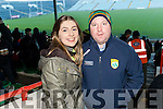 Jade McMahon and Paudie Flavin (Knockanure), enjoying the Kerry v Limerick McGrath Cup Football Final on Sunday last in Limerick GAA Grounds.