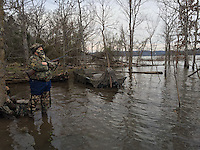 NWA Democrat-Gazette/FLIP PUTTHOFF<br /> High water has created excellent conditions for hunting ducks at Beaver Lake. Alan Bland of Rogers waits for incoming ducks while hunting on a flooded point Dec. 31, 2015. When water floods grass and bushes, it provides food and habitat for waterfowl.