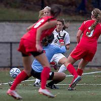 Boston College forward Stephanie McCaffrey (9) scores. Boston College defeated Marist College, 6-1, in NCAA tournament play at Newton Campus Field, November 13, 2011.