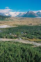 Aerial of the town of McCarthy, McCarthy creek, Kennicottt Glacier moraine, Mount Blackburn, Wrangell St. Elias National Park, Alaska.