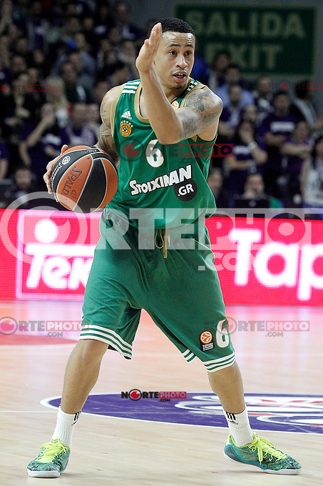 Panathinaikos Athens' A.J. Slaughter during Euroleague match.January 22,2015. (ALTERPHOTOS/Acero) /NortePhoto<br />