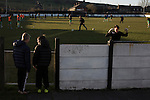 Bacup Borough 4 Holker Old Boys 1, 25/04/2016. Brain Boys West View Stadium, NorthWest Counties League Division One. Two young boys watching the opposition goalkeeper going through his warm-up drill at the Brain Boys West View Stadium before Bacup Borough play Holker Old Boys in a NorthWest Counties League division one fixture. Formed as Bacup in 1879, the club moved into their current home in 1889 and have been known as Bacup Borough since the 1920s, apart from a brief recent spell when they added the name Rossendale to their name. With both teams challenging for play-off places, Bacup Borough won this fixture by 4-1, watched by a crowd of 50. Photo by Colin McPherson.