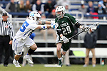 DURHAM, NC - MARCH 11: Loyola's Mike Perkins (29) and Duke's Garrett Van de Ven (25). The Duke University Blue Devils hosted the Loyola University Maryland Greyhounds on March 11, 2017, at Koskinen Stadium in Durham, NC in a Division I College Men's Lacrosse match. Duke won the game 15-7.
