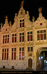 Civil Registry at Night, Renaissance Facade 1543, Burg Square, Bruges, Brugge, Belgium